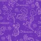 Vector pattern with cartoon and funny dinosaurs in violet — Stock Vector