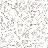 Vector pattern with attributes of cosmetics in white — Stock Vector