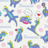 Vector seamless pattern with cartoon and funny dinosaurs — Stock Vector