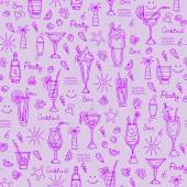 Vector pattern with hand drawn cocktails on purple background — Stock Vector