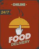 Courier food delivery poster — Stock Vector