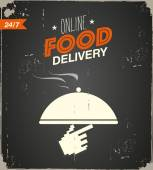 Online food delivery poster — Stock Vector