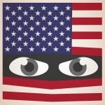 ojos enojados con bandera americana, concepto militar — Vector de stock  #75766699
