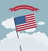 Bandera de Estados Unidos contra el cielo azul — Vector de stock