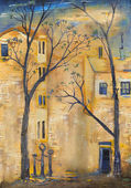 Two trees in the courtyard. — Zdjęcie stockowe