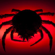 Постер, плакат: Silhouette European spider crab red stealth danger prowling