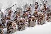 Group of Christmas chocolate truffle bags in a row — Stock Photo