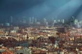 Dark clouds over the skyline of Barcelona — Stock Photo