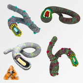 Illustration set of viruses like ebola — Stock Photo