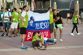 BARCELONA - SEPTEMBER 6: Slovenia fans before match — Stock Photo