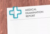 Medical report template with cross paper clip — Stock Photo