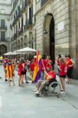 BARCELONA, SPAIN - SEPTEMBER 11, 2014: People manifestating inde — Stock Photo