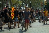 Antifa anarchy manifestation at independence day for Catalonia — Stock Photo
