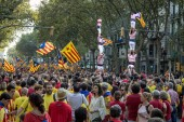 People manifesting independence during the National Day of Catalonia — Stock Photo
