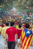 BARCELONA, SPAIN - SEPT. 11: People manifasteting ingependence o — Stock Photo