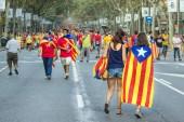 BARCELONA, SPAIN - SEPT. 11: Teenagers manifesting ingependence  — Stock Photo