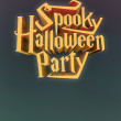 Spooky Halloween Party pumpkin poster template letters 3d — Stock Photo #55516667