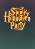 Spooky Halloween Party pumpkin poster template letters 3d — Foto de Stock