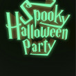 Spooky Halloween Party neon poster template letters 3d — 图库照片 #55522091