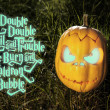 Halloween scary pumpkin and spell in the grass — Stock Photo #56265573