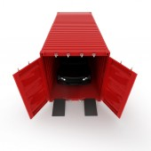Render illustration of a car inside of a red container isolated — Foto Stock