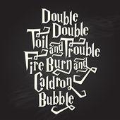 """Double, double..."" halloween spell on chalkboard — Stock Vector"