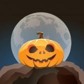 Halloween pumpkin closeup in moon light on a rock — Stock Vector