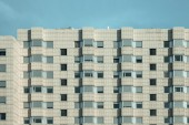 Patterned exterior of block of flat facade — Stock Photo