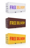 Free delivery white brown yellow metal freight shipping containe — Foto Stock