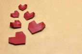 3d printed heart's on pack paper — Stock Photo