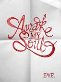 Awake my soul - Hand drawn quotes on folded paper — Stock Vector