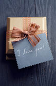"Valentine's day gift and ""I love you!"" card — Stockfoto"