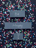 """Be Happy"" handwritten card — Stock Photo"