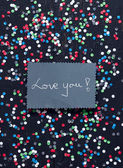 """Love you!"" handwritten card — Stock Photo"