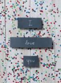 """I love you"" handwritten card — Stock Photo"