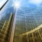 Blue clean glass wall of modern skyscraper — Stock Photo #53349015