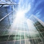 Blue clean glass wall of modern skyscraper — Stock Photo #53349019