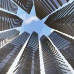 Blue clean glass wall of modern skyscraper — Stock Photo #53349245