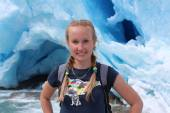 Young woman on the Nigardsbreen, glacier in Norway. — Stock Photo
