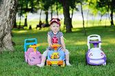 Little boy on a toy car — Stock Photo