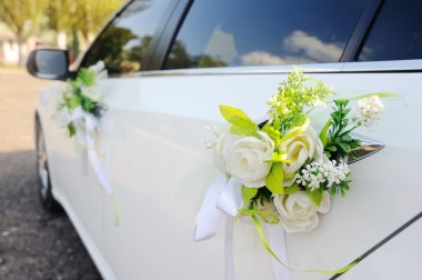 Decoration on wedding car