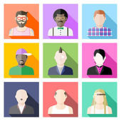 Conjunto de iconos de avatar de usuario en estilo plano — Vector de stock