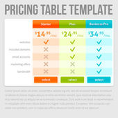 Pricing Table Template — Stock Vector