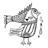 Streszczenie fantastycznych ptaków z fishtail — Wektor stockowy