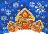 House, kar, Rus kulübe, ivillage Toon, ce, glitz, Sihir, cennet, zhvezdy yıldız Noel, kazak kar tanesi, kış tatili, Noel, simetri, yeni Noel masalı ll kristalleri — Stok Vektör