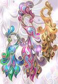 Peacock, jewelry, illustration, Arabian bird, bird of happiness, gold, diamonds, glamor, jewelery, souvenir, blue, gold, pink, Treasures of the Orient, ethnic motifs east, Kazakh  ornaments — Stock Vector