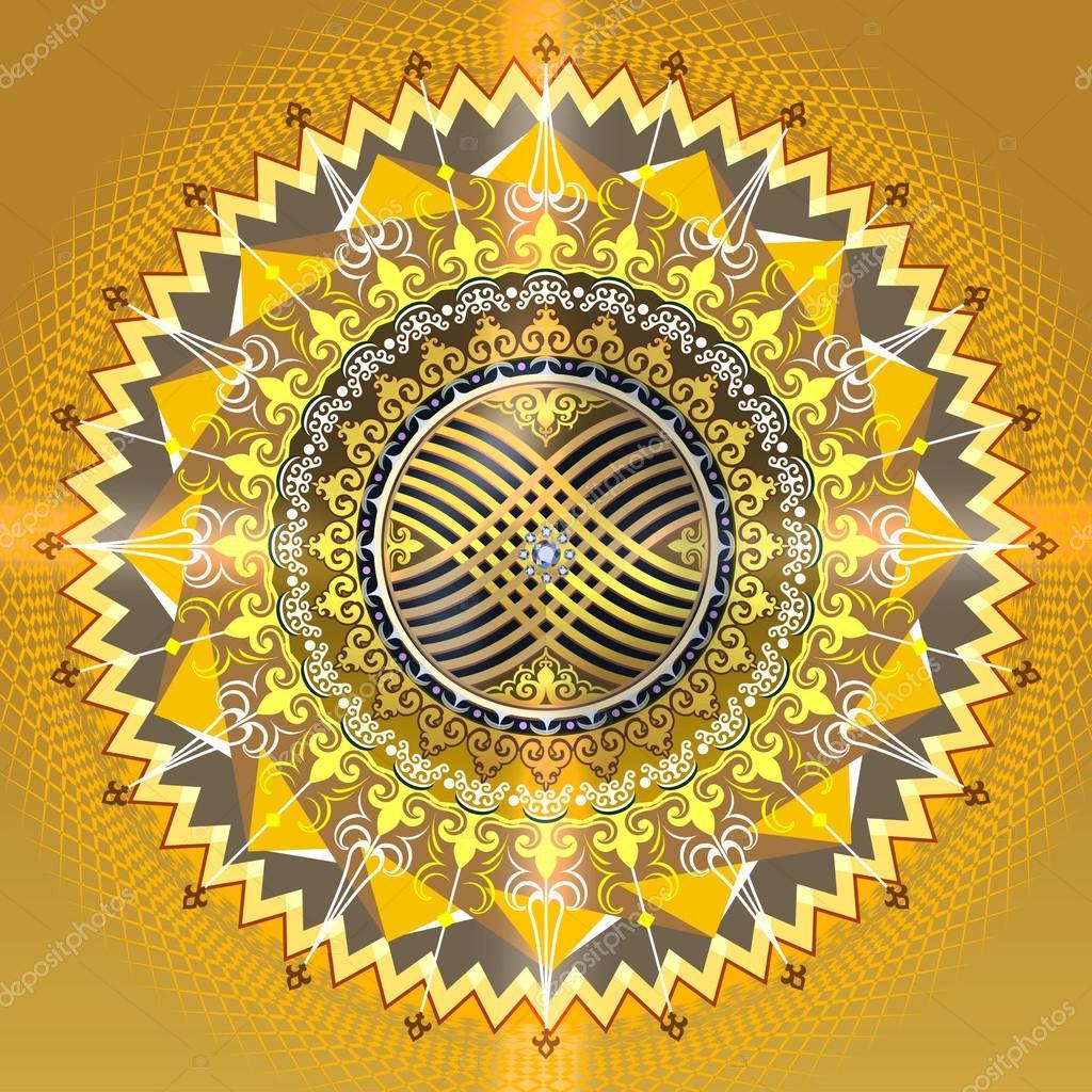 Kazakhstan solar sign ornament - Стоковая иллюстрация: 66219381