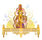 Bride,  saukele, girl, Kiz, kyzuzatu, invitation, wedding card, greeting card template, veil, Kazakh suit, ethnicity — Stock Vector