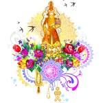 ������, ������: Bride saukele girl Kiz kyzuzatu invitation wedding card greeting card template veil Kazakh suit ethnicity