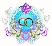 Wedding, ring, gold ring, wedding ring, — Stock Vector